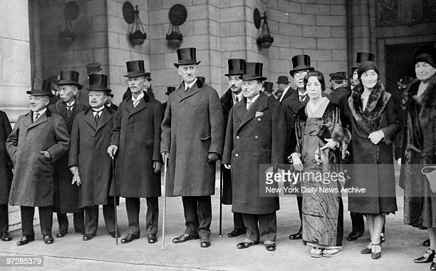 Japan's delegates to the naval disarmament conference in London headed by former Premier R Wakatsuki in Washington DC with Secretary of State Henry L...
