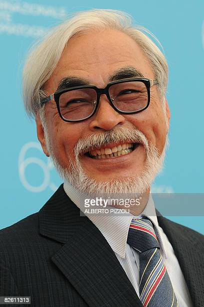 Japan's director Hayao Miyazaki smiles during the photocall of his movie 'Gake no ue no Ponyo' during the 65th Venice International Film Festival at...