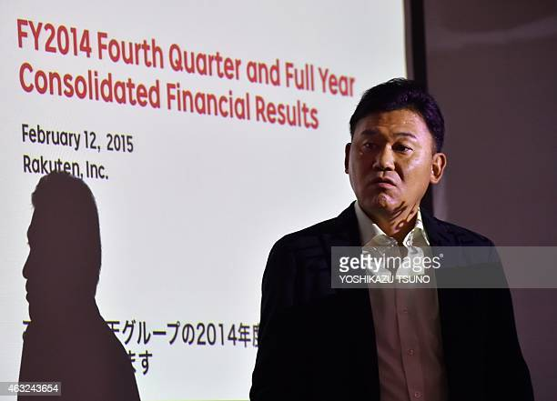 Japan's ecommerce giant Rakuten president Hiroshi Mikitani announces the company's financial result ended December at the Rakuten headquarters in...