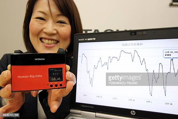 Japan's electronics giant Hitachi employee displays the new wearable sensor which measures human activity of the group or organization and analyze...