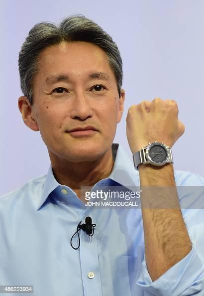 giant Sony president Kazuo Hirai displays Sony's Wena (Wear