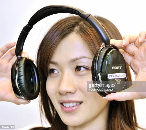 Japan's electronics giant Sony unveils the world's first digital noise cancelling headphone 'MDRNC500D' which enables to cut train plane and...