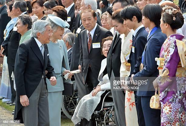 Japan's Emperor Akihito and Empress Michiko greet Japanese medalists at the Sochi Olympics Yuzuru Hanyu Noriaki Kasai and Tomoka Takeuchi during the...