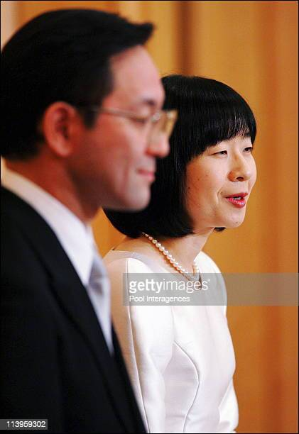 Japan's Emperor's youngest daughter Sayako speaks to reporters after her wedding ceremony in Tokyo Japan On November 15 2005