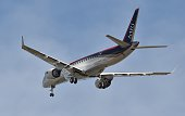 Japan's first domestically produced passenger jet the Mitsubishi Regional Jet developed by Mitsubishi Heavy Industries flies shortly after take off...
