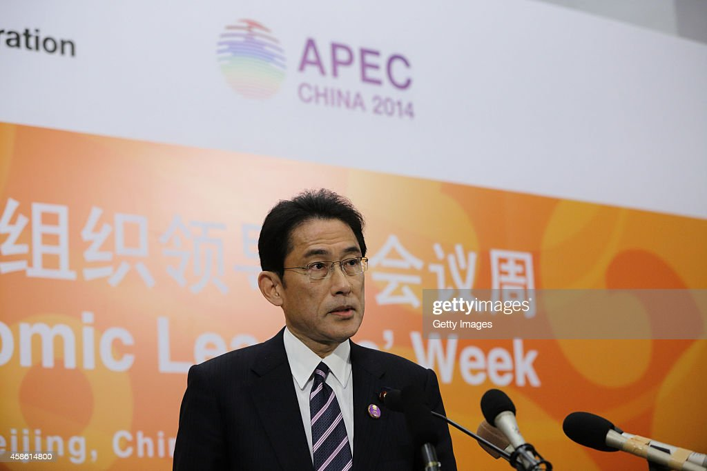 Japan's Foreign Minister <a gi-track='captionPersonalityLinkClicked' href=/galleries/search?phrase=Fumio+Kishida&family=editorial&specificpeople=10093794 ng-click='$event.stopPropagation()'>Fumio Kishida</a> speaks during a press conference during the Asia-Pacific Economic Cooperation (APEC) Summit at the China National Convention Center on November 7, 2014 in Beijing, China. 2014 APEC Economic Leaders' Meetings and APEC summit is being held at Beijing's outskirt Yanqi Lake in November.