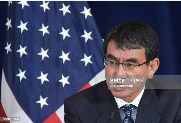 Japan's Foreign Minister Taro Kono takes part in a joint press conference with US Secretary of State Rex Tillerson and Defense Secretary James Mattis...