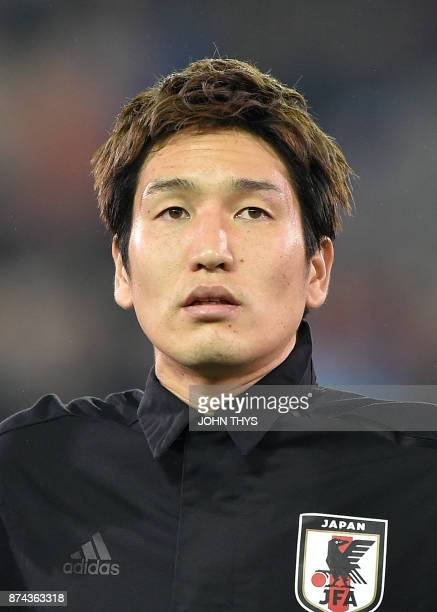 Japan's forward Genki Haraguchi is pictured ahead of the friendly football match between Belgium and Japan at the Jan Breydel Stadium on November 14...