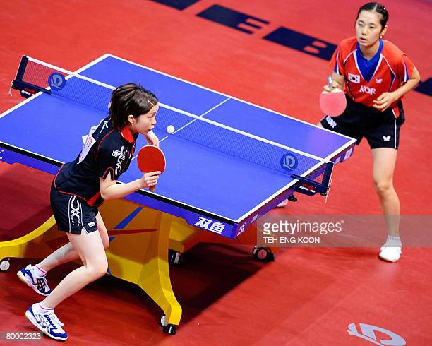 Japan's Fukuoka Haruna competes against South Korea's Lee Eun Hee during the World Team Table Tennis Championship in Guangzhou China's Guangdong...