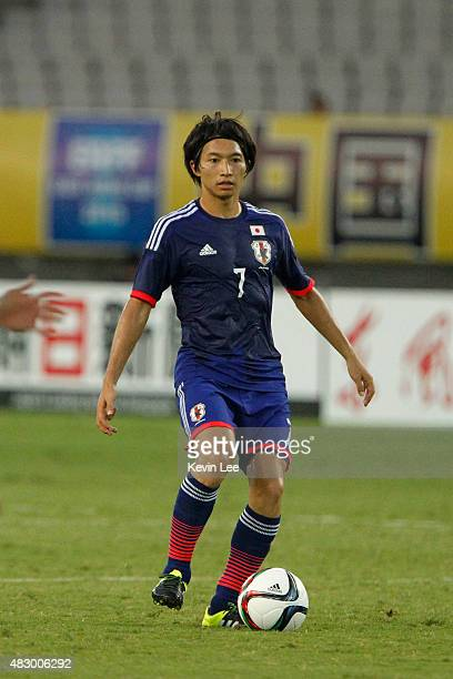 Japan's Gaku Shibasaki compete in a match against Korea Republic during EAFF East Asian Cup 2015 final round in Wuhan Sports Center Stadium on August...