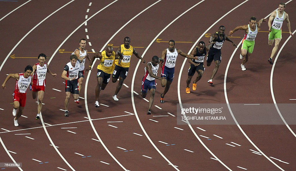 Japan's, Germany's, Jamaica's, USA's, Nigeria's, and Australia's teams compete during the men's 4x100m relay first round, 31 August 2007, at the 11th IAAF World Athletics Championships, in Osaka. AFP PHOTO / TOSHIFUMI KITAMURA