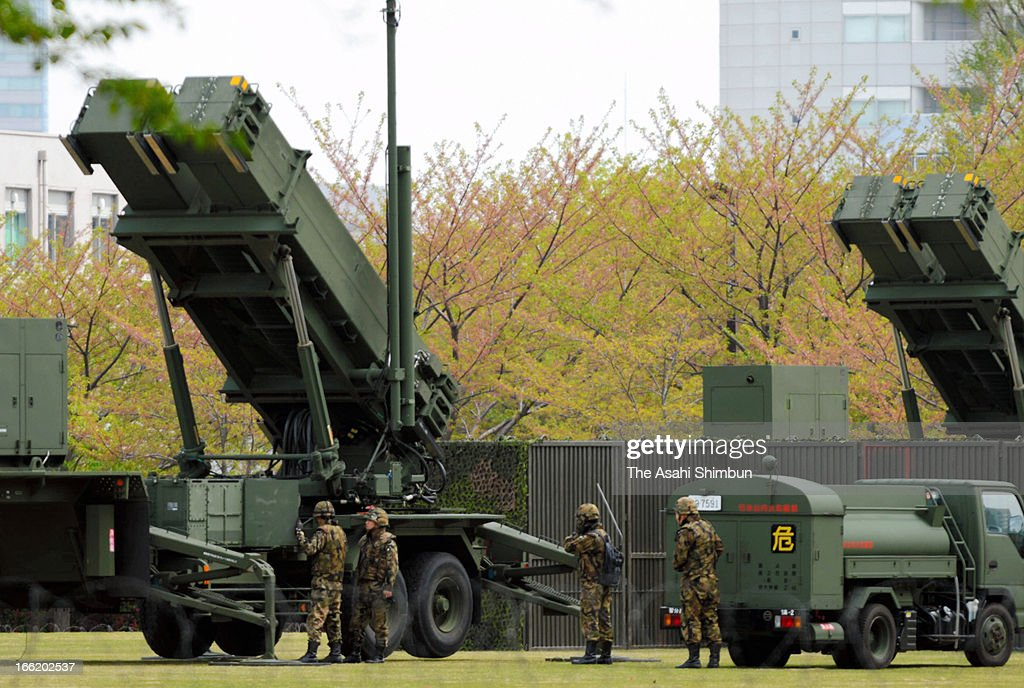 Japan's Ground Self-Defense Force members work at PAC-3, Patriot Advanced Capability-3 missiles are deployed at Defense Ministry on April 10, 2013 in Tokyo, Japan. Japan prepares for North Korea's possible missile launch.
