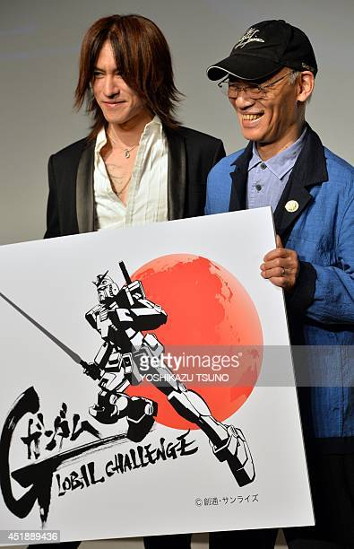 Japan's Gundam animation film director Yoshiyuki Tomino and Sugizo a member of Japanese rock group X Japan announce the Gundam Global Challenge...