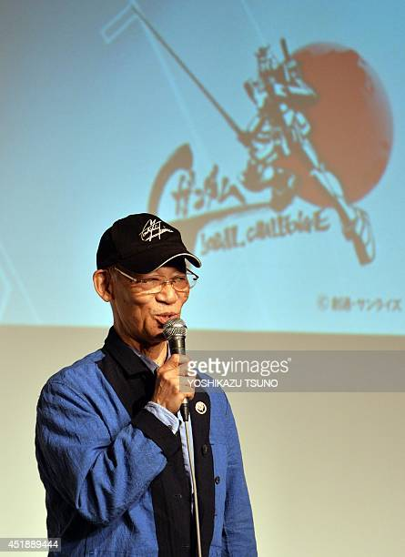 Japan's Gundam animation film director Yoshiyuki Tomino announces the Gundam Global Challenge project in Tokyo on July 9 2014 Japanese animators and...