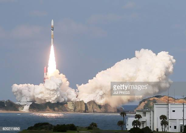 Japan's H2A rocket carrying a Himawari9 weather satellite is launched at the Tanegashima Space Center in Tanegashima Island in Kagoshima Prefecture...