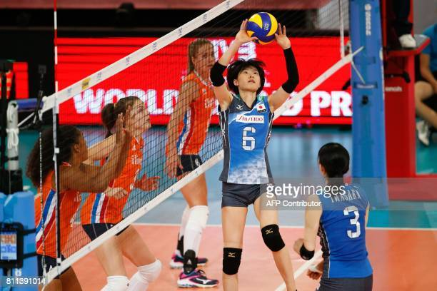 Japan's Haruka Miyashita controls the ball during a match against the Netherlands at the Women Volleyball World Grand Prix in Apeldoorn on July 9...