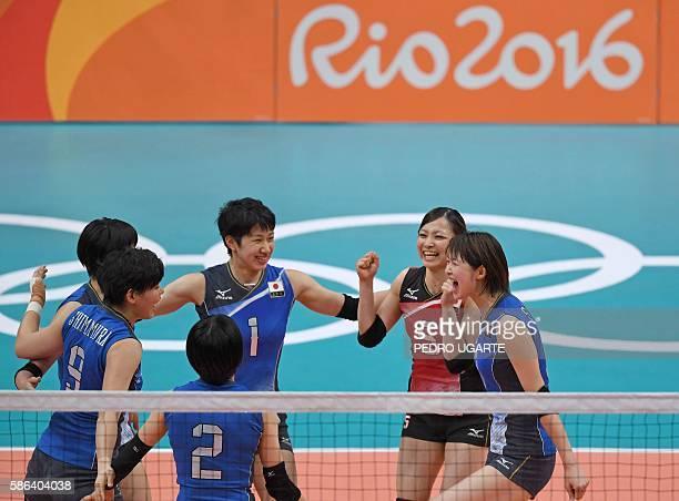Japan's Haruyo Shimamura celebrates with Japan's Haruka Miyashita Japan's Miyu Nagaoka Japan's Arisa Sato and Japan's Saori Kimura after winning a...