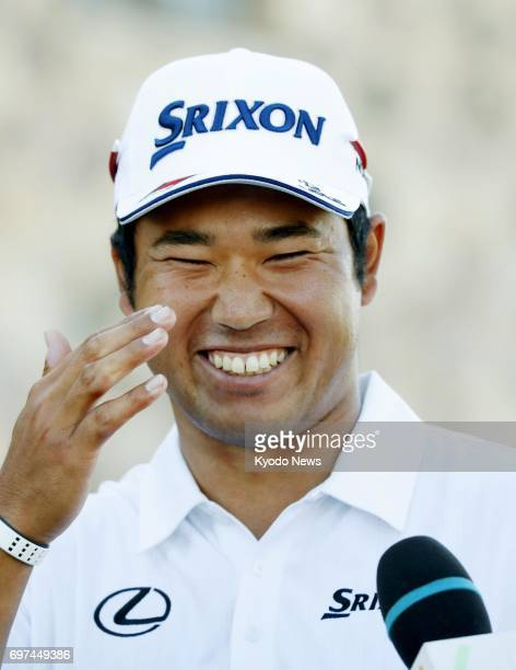 Japan's Hideki Matsuyama reacts during an interview after finishing in a tie for second with a total score of 12under 276 at the US Open at Erin...