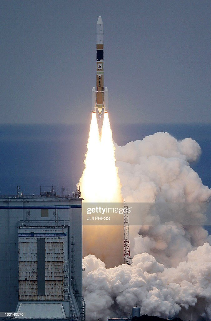 Japan's H-IIA rocket carrying an information gathering rader satellite lifts off from the launch pad at the Tanegashima space centre in Kagoshima prefecture, on Japan's southern island of Kyushu on January 27, 2013. Japan launched a new spy satellite into orbit amid concerns over North Korea's missile programme. JAPAN