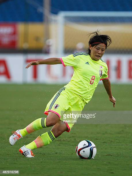 Japan's Hikaru Naomoto in action during EAFF Women's East Asian Cup 2015 final round at Wuhan Sports Center Stadium on August 4 2015 in Wuhan China