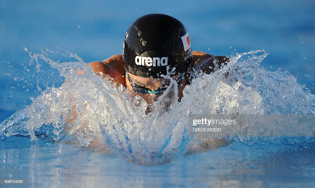 Japan's Hiromasa Fujimori competes to win the men's 200m individual medley event at the final day of the Aquatic Super Series swimming event in Perth on February 6, 2016. AFP PHOTO / Greg WOOD WOOD