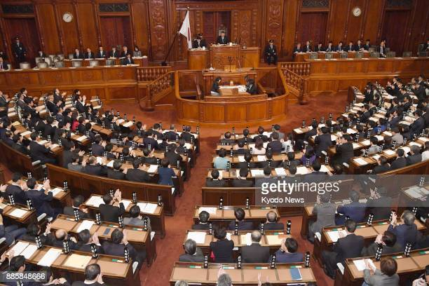 Japan's House of Representatives adopts at a plenary session in Tokyo on Dec 5 2017 a resolution condemning North Korea's launch of an...
