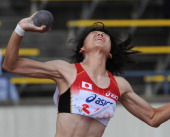 Japan's Humie Takehara puts the shot during the women's heptathlon shot put competition in the 2011 Asian Athletics Championships in Kobe on July 8...