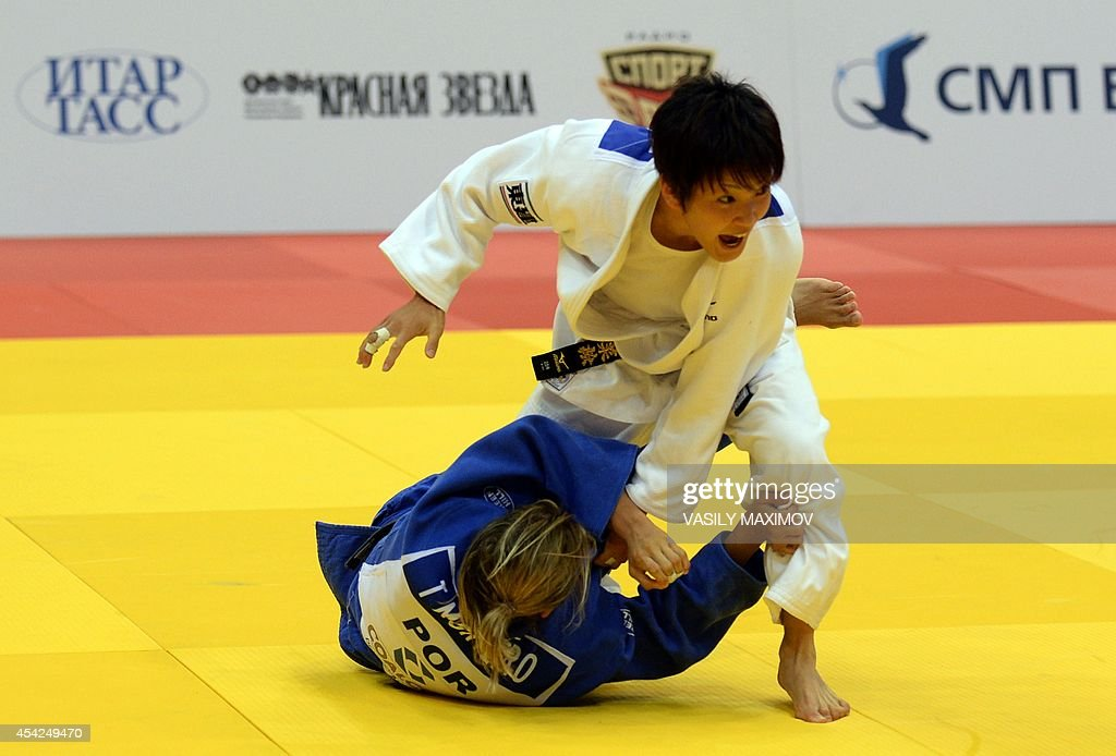 Japan's judoka Nae Udaka (white) competes with Portugal's Telma Monteiro during the under 57 kg category final at the IJF World Judo Championship in Chelyabinsk on August 27, 2014.