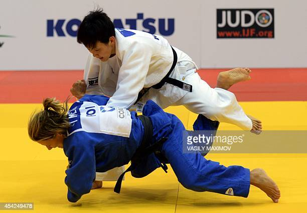 Japan's judoka Nae Udaka competes with Portugal's Telma Monteiro during the under 57 kg category final at the IJF World Judo Championship in...