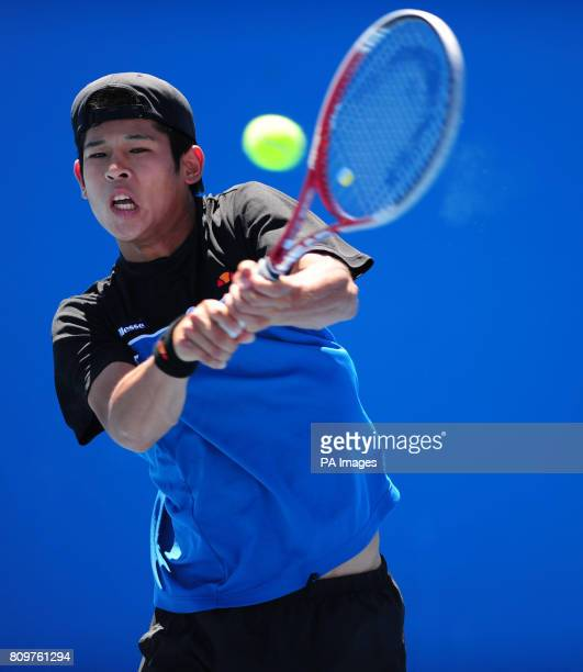 Japan's Kaichi Uchida in action against Great Britain's Luke Bambridge during day nine of the 2012 Australian Open at Melbourne Park in Melbourne...