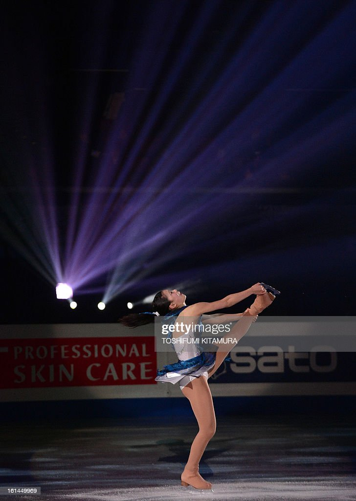Japan's Kanako Murakami performs her ladies routine in the gala exhibition event after the Four Continents figure skating championships in Osaka on February 11, 2013.