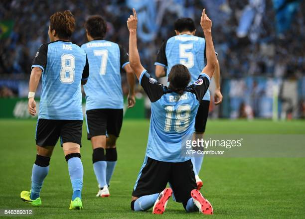 Japan's Kawasaki Frontale defender Elsinho celebrates his goal during the AFC Champions League quarterfinal football match between Urawa Reds and...