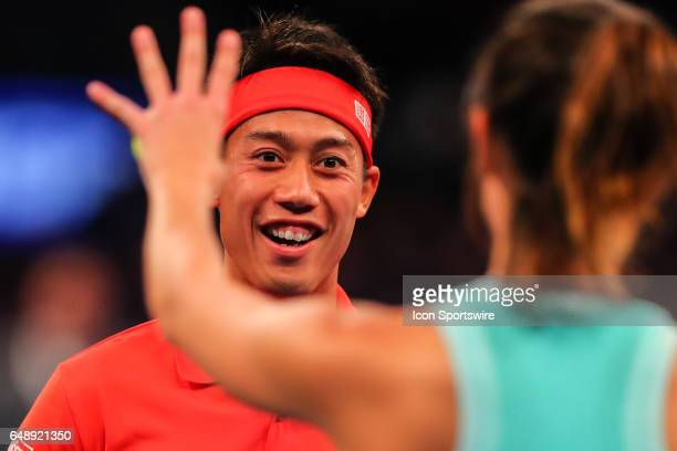 Japan's Kei Nishikori during the BNP Paribas Showdown on March 6 at Madison Square Garden in New York City NY