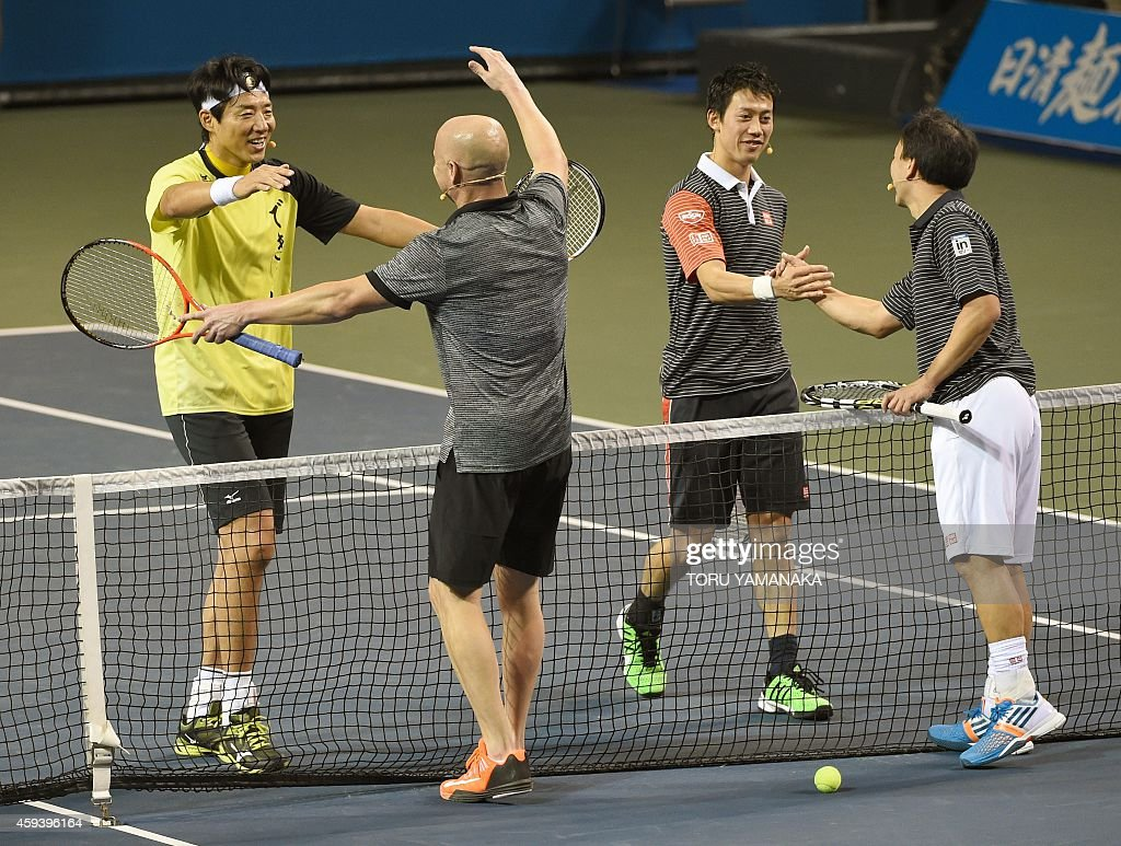 Japan s Kei Nishikori 2nd R Nishikori s coach Michael Chang R