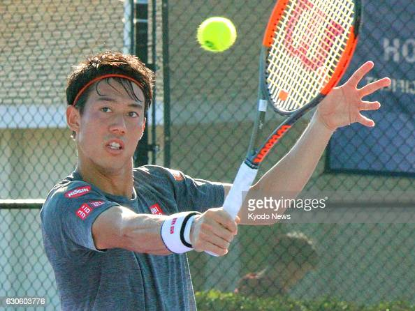 Japan's Kei Nishikori works out at the IMG Academy in Bradenton Florida on Dec 27 2016 Nishikori is looking to win one of ATP Masters tournaments in...
