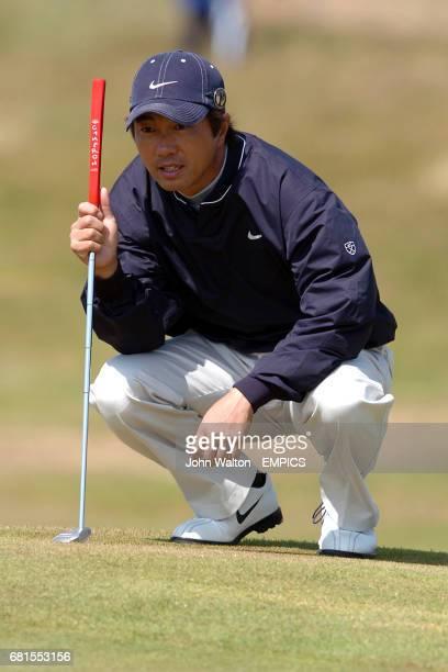 Japan's Keiichiro Fukabori lines up a putt