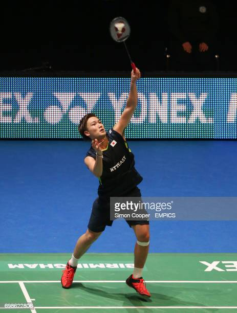 Japan's Kento Momota in action during his singles quarter final match