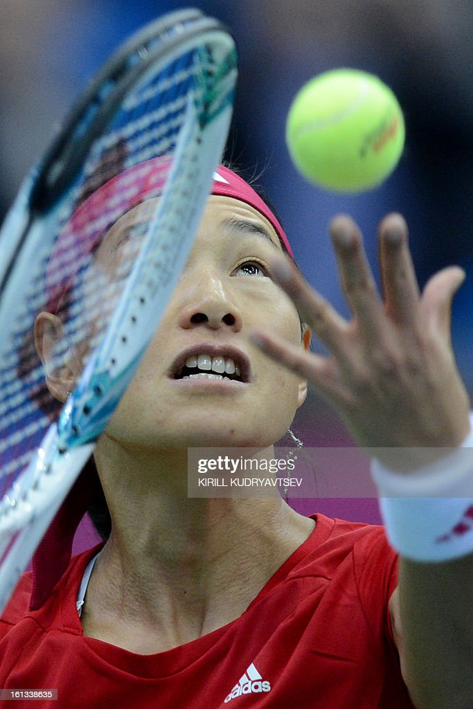 Japan's Kimiko Date-Krumm prepares to serve to Russia's Ekaterina Makarova during the International Tennis Federation Fed Cup quarterfinal match between Russia and Japan in Moscow on February 10, 2013.