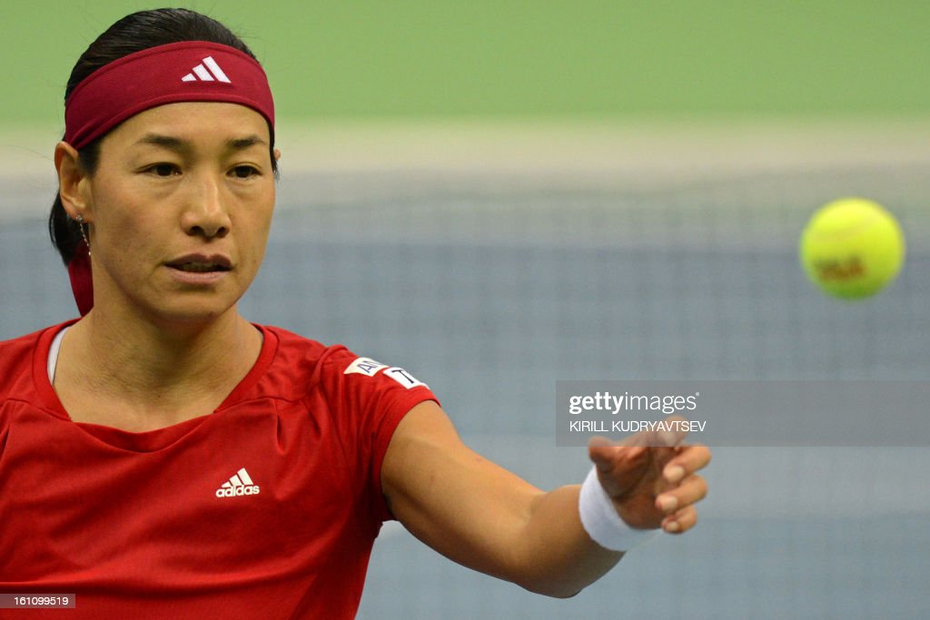 Japan's Kimiko Date-Krumm reacts after losing a point against Russia's Maria Kirilenko during the International Tennis Federation Fed Cup quarterfinal match between Russia and Japan in Moscow on February 9, 2013.