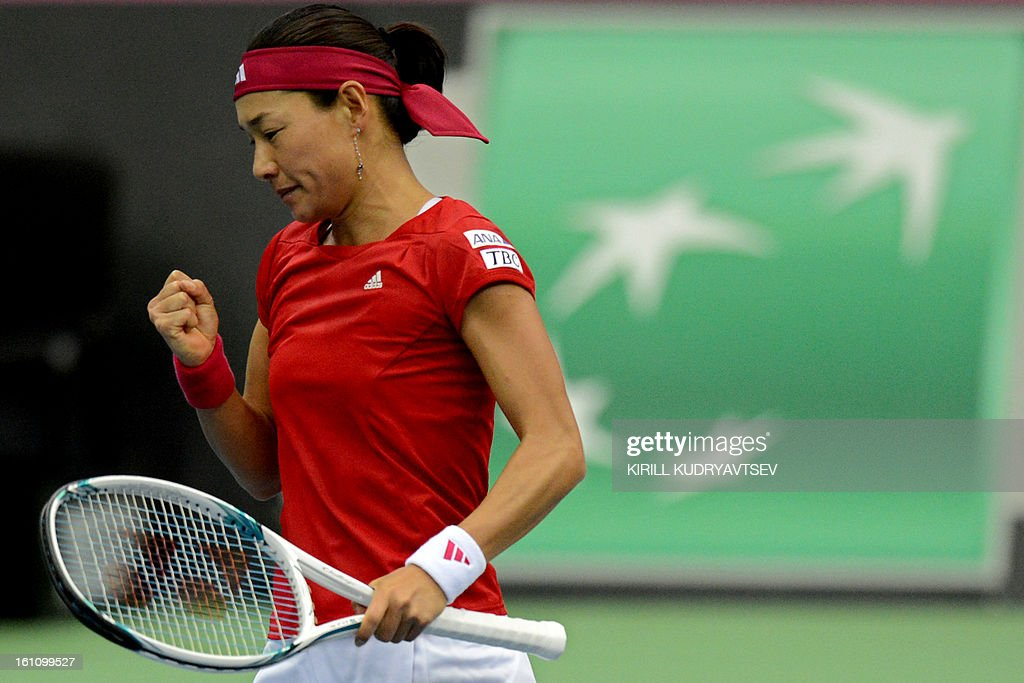 Japan's Kimiko Date-Krumm reacts after winning a point against Russia's Maria Kirilenko during the International Tennis Federation Fed Cup quarterfinal match between Russia and Japan in Moscow on February 9, 2013.