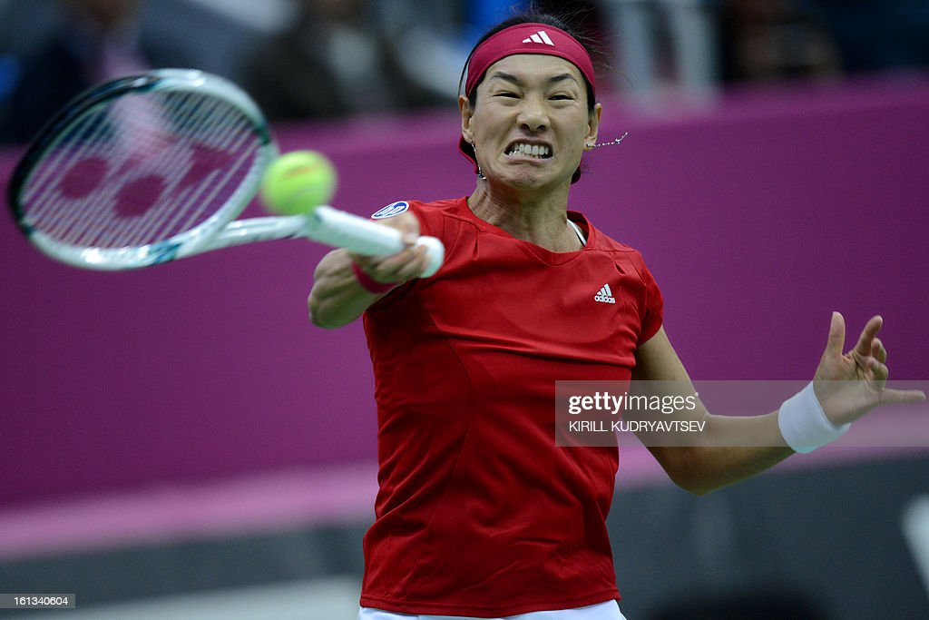 Japan's Kimiko Date-Krumm returns a ball to Russia's Ekaterina Makarova during the International Tennis Federation Fed Cup quarterfinal match between Russia and Japan in Moscow on February 10, 2013.