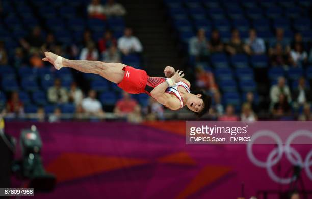 Japan's Kohei Uchimura competes during the Artistic Gymnastics men's Floor final at the North Greenwich Arena London