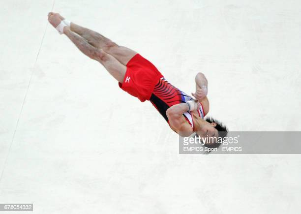 Japan's Kohei Uchimura competes on the floor during the Artistic Gymnastics team qualification at the North Greenwich Arena London on day one of the...