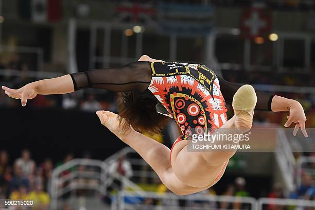 Japan's Mai Murakami competes in the women's floor event final of the Artistic Gymnastics at the Olympic Arena during the Rio 2016 Olympic Games in...