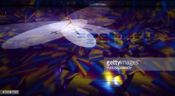 Japan's Mao Asada performs at the Figure Skating Exhibition Gala at the Iceberg Skating Palace during the Sochi Winter Olympics on February 22 2014...