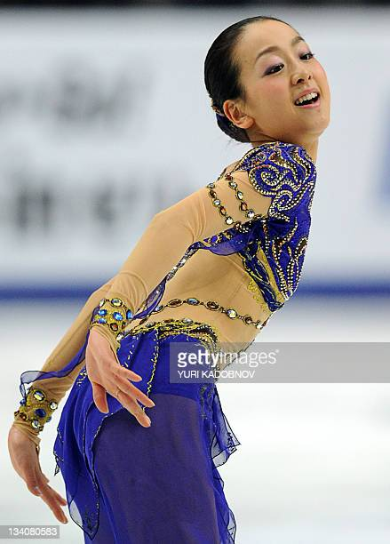 Japan's Mao Asada performs during the ladies short programme of the ISU Grand Prix of figure skating at Megasport arena in Moscow on November 25 2011...