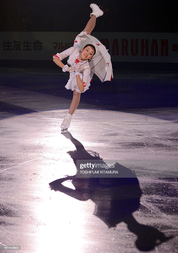 Japan's Mao Asada performs her ladies routine in the gala exhibition event after the Four Continents figure skating championships in Osaka on February 11, 2013. AFP PHOTO / TOSHIFUMI KITAMURA