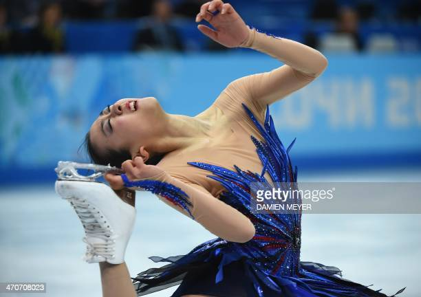 Japan's Mao Asada performs in the Women's Figure Skating Free Program at the Iceberg Skating Palace during the Sochi Winter Olympics on February 20...