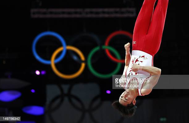 Japan's Masaki Ito competes in the men's trampoline final of the artistic gymnastics event of the London 2012 Olympic Games in London on August 3...