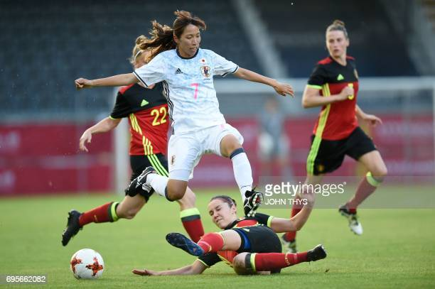 Japan's midfielder Ami Naomoto vies with Belgium's defender Elien Van Wynendaele during the Women's International friendly football match between...